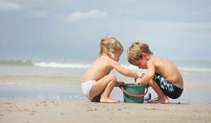 kids on beach - polzeath is nearby