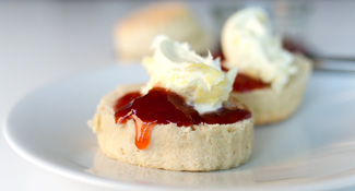 cream tea with scones and clotted cream